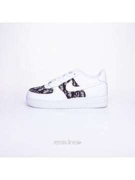 Remix Line Custom - Nike Air Force 1 Kids Dior Custom Monogram Grey