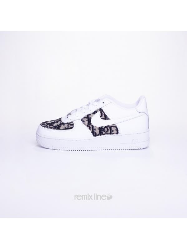 Remix Line Custom - Nike Air Force 1 Enfant Dior Custom Monogramme Gris